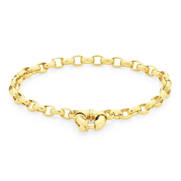 9ct 19cm Solid Belcher Bolt Ring Bracelet