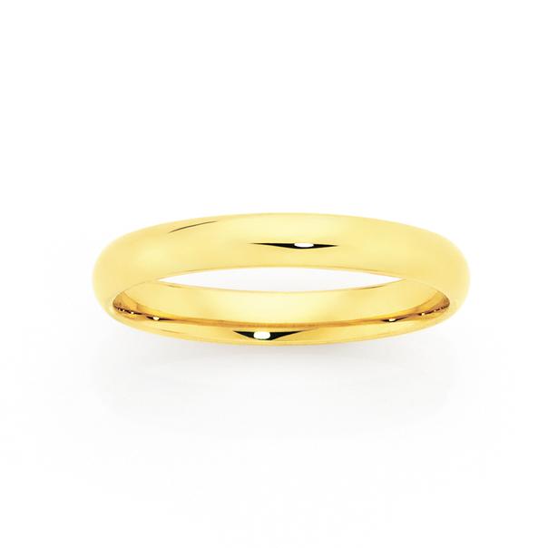9ct 3mm Half Round Wedding Ring - Size L