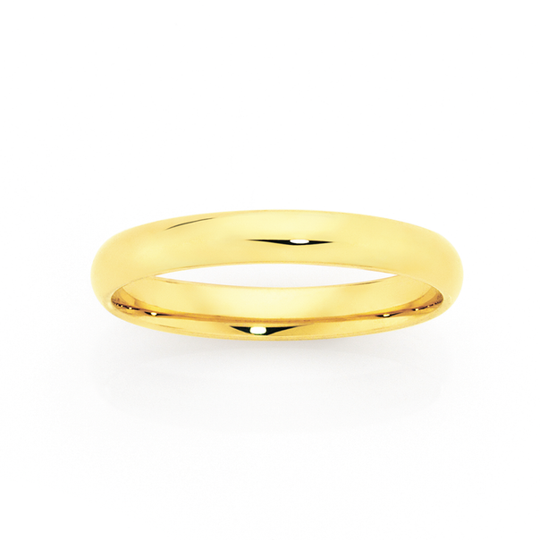 9ct 3mm Half Round Wedding Ring - Size O