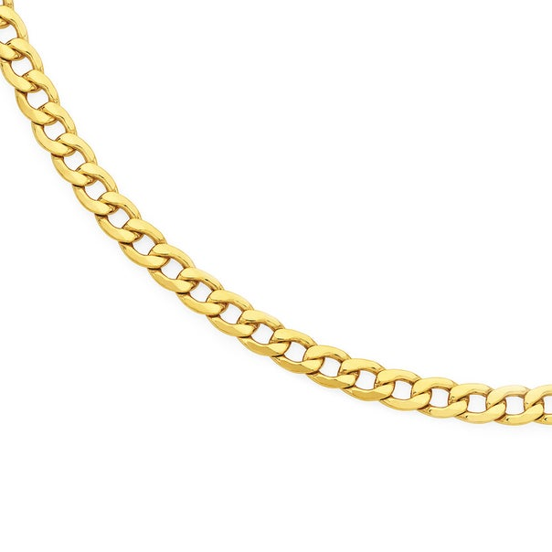 9ct 55cm Solid Bevelled Curb Chain