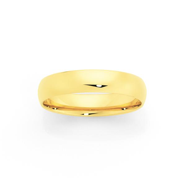 9ct 5mm Half Round Wedding Ring - Size T