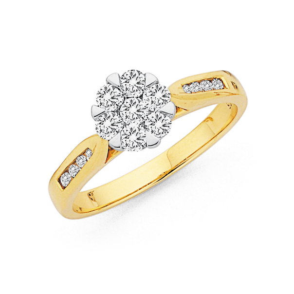 9ct, Cluster Diamond Ring Total Diamond Weight=.50ct