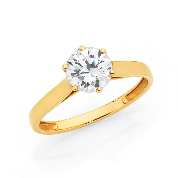 9ct CZ Solitaire Ring