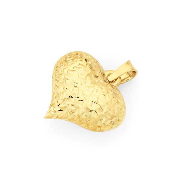 9ct Diamond-cut Puff Heart Pendant