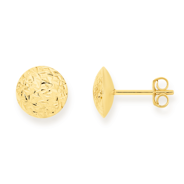 9ct Gold 10mm Diamond-cut Dome Stud Earrings