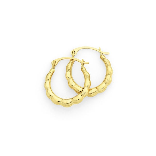 9ct Gold 10mm Scalloped Creole Earrings