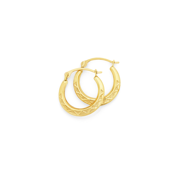 9ct Gold 10mm Textured Creole Earrings