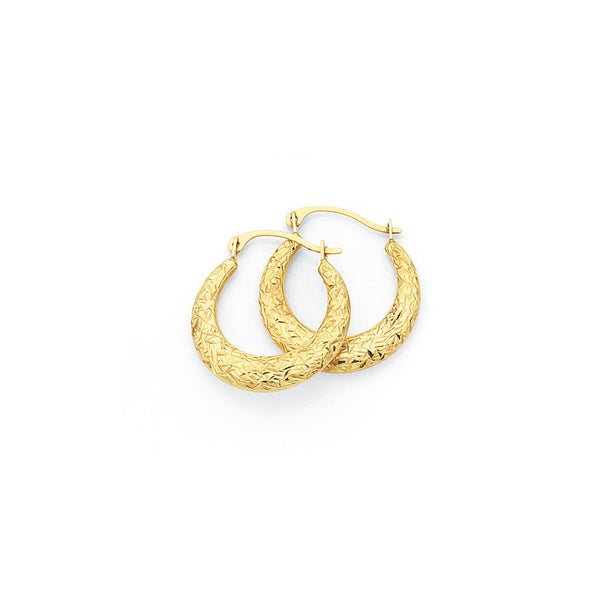 9ct Gold 12mm Puff Creole Earrings