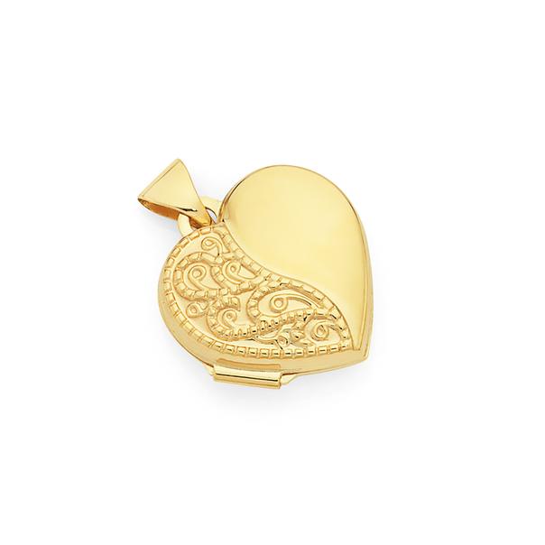 9ct Gold 15mm Filigree Heart Locket