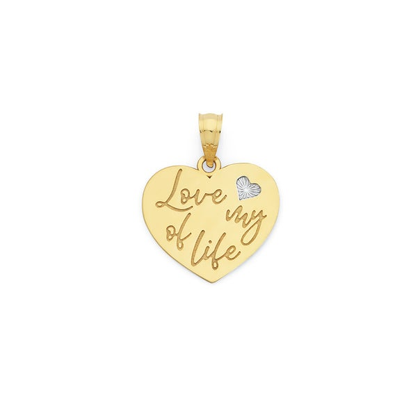 9ct Gold 15mm Love of My Life Heart Pendant