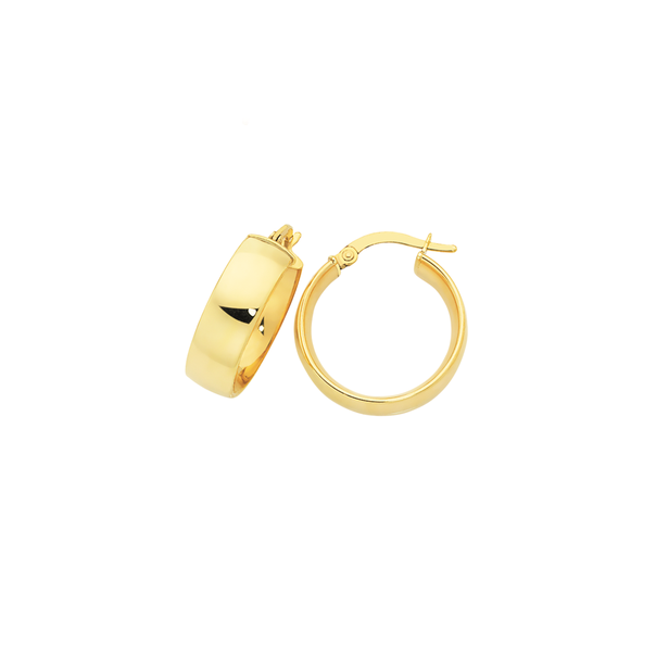 9ct Gold 15mm Polished Hoop Earrings