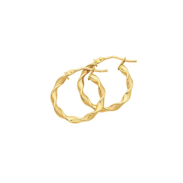 9ct Gold 15mm Twist Hoop Earrings