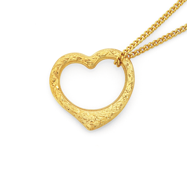 9ct Gold 16mm Floating Heart Pendant