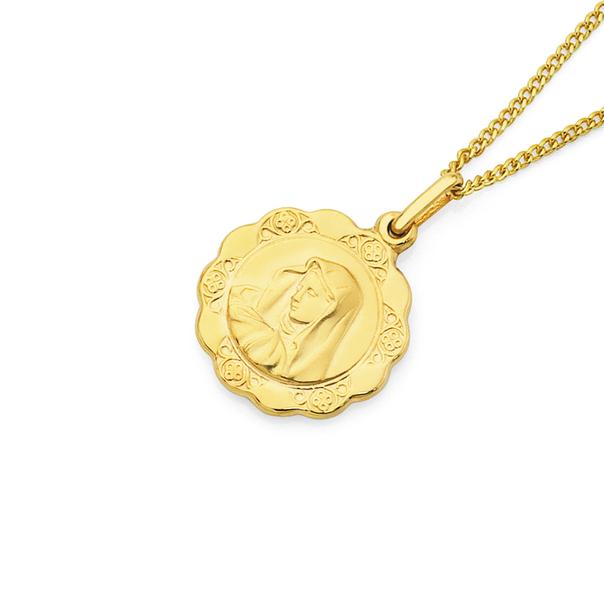 9ct Gold 16mm Madonna Medallion Pendant