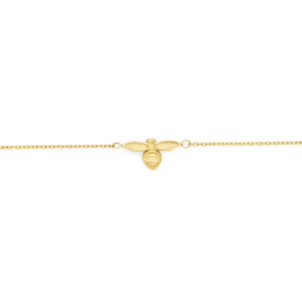 9ct Gold 19cm Bumble Bee Solid Trace Bracelet