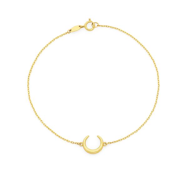 9ct  Gold 19cm Crescent Moon Solid Trace Bracelet