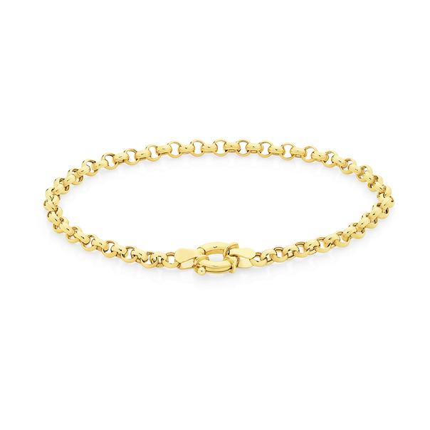 9ct Gold 19cm Hollow Belcher Bolt Ring Bracelet