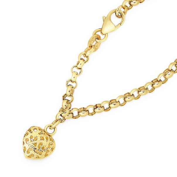 9ct Gold 19cm Hollow Belcher Bracelet with Heart