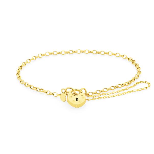 9ct Gold 19cm Hollow Belcher Padlock Bracelet
