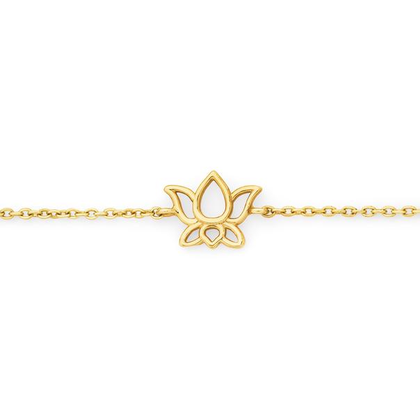 9ct Gold 19cm Lotus Flower Solid Trace Bracelet