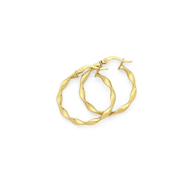 9ct Gold 20mm Twist Hoop Earrings