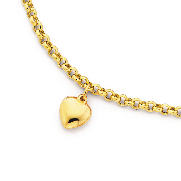 9ct Gold 25cm Hollow Belcher Anklet with Heart Charm