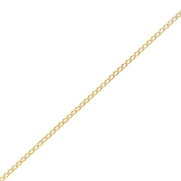 9ct Gold 25cm Solid Curb Anklet