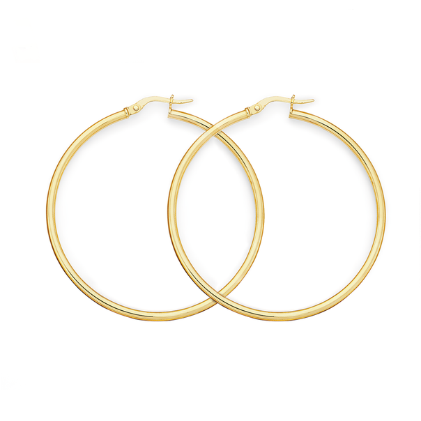 9ct Gold 2.5x40mm Polished  Hoop Earrings