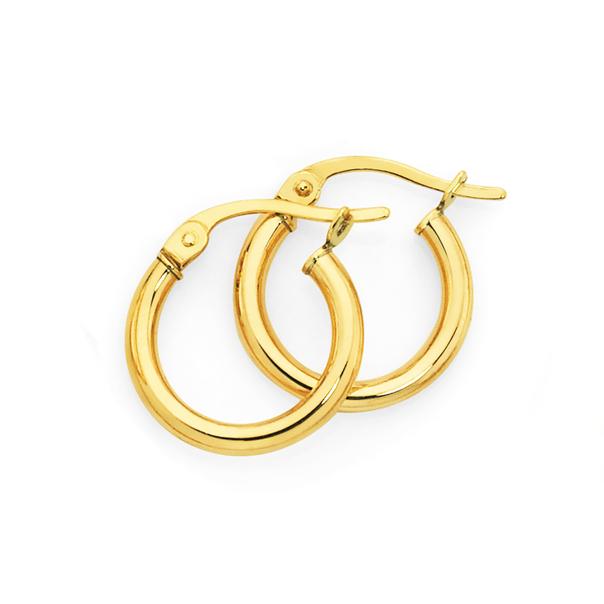 9ct Gold 2x10mm Polished Hoop Earrings
