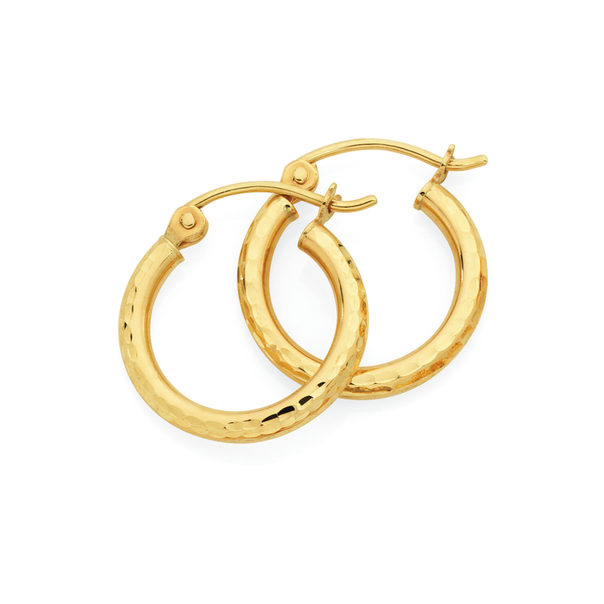 9ct Gold 2x12mm Polished Hoop Earrings