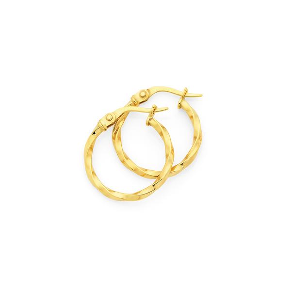 9ct Gold 2x15mm Twist Hoop Earrings