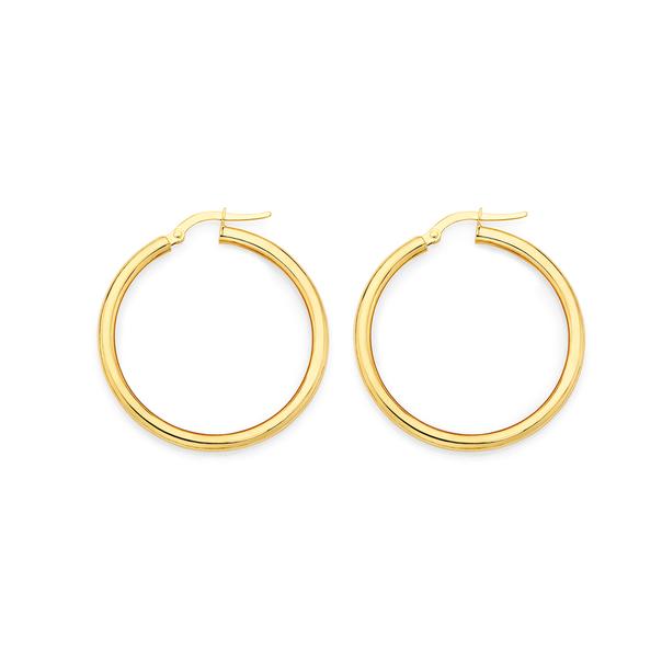 9ct Gold 30mm Hoop Earrings