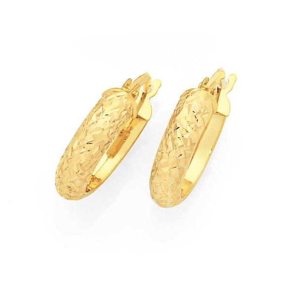 9ct Gold 3.5x10mm Diamond-cut Hoop Earrings