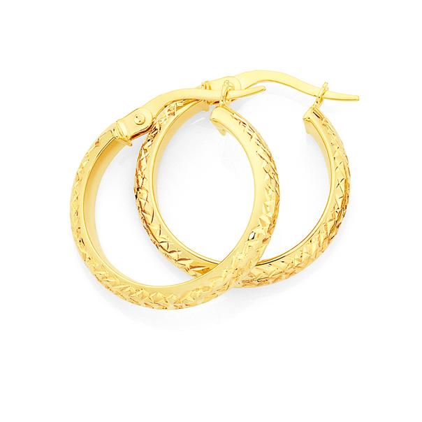 9ct Gold 3.5x15mm Diamond-cut Hoop Earrings