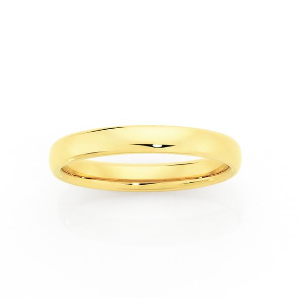 9ct Gold 3mm Comfort Wedding Ring - Size M