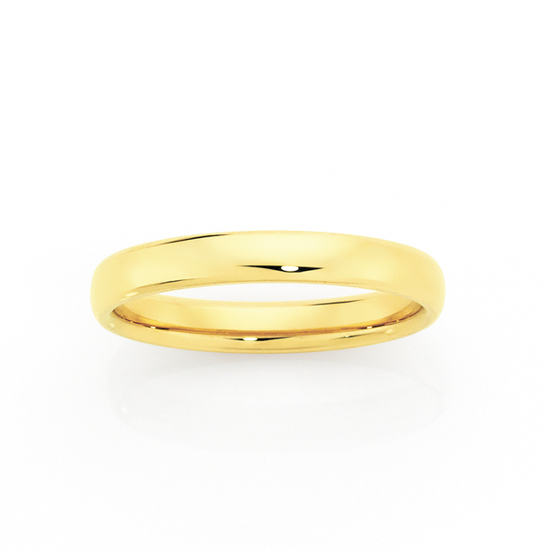9ct Gold 3mm Comfort Wedding Ring - Size N