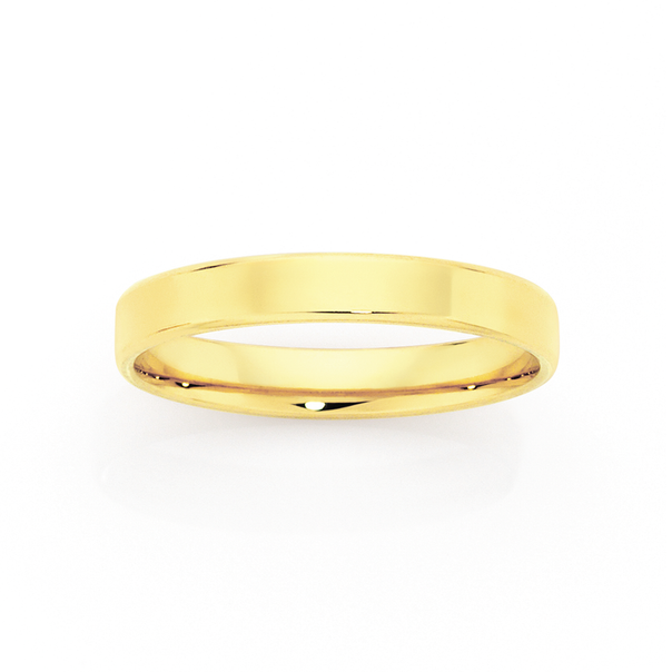 9ct Gold 3mm Flat Soft Edge Wedding Ring - Size M