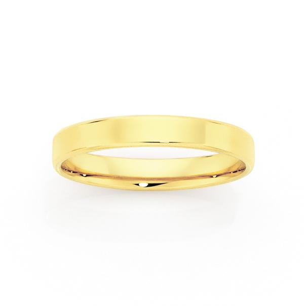 9ct Gold 3mm Flat Soft Edge Wedding Ring - Size O