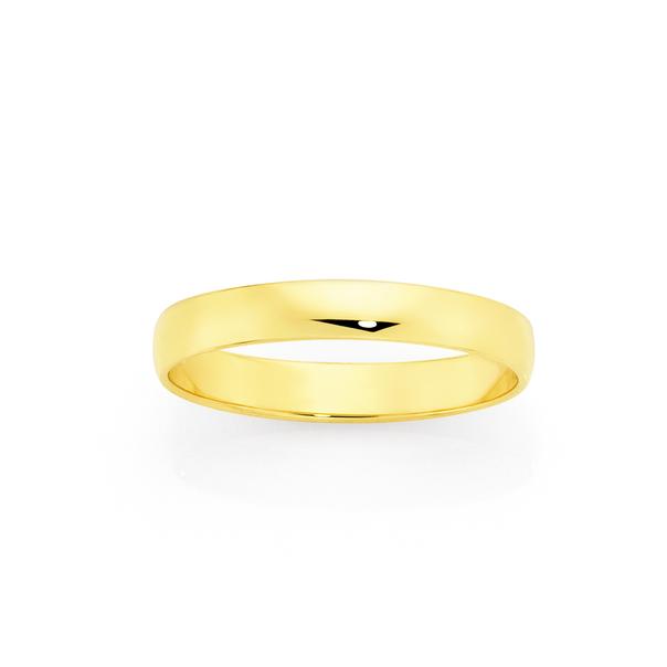 9ct Gold 3mm Half Round Wedding Ring - Size N