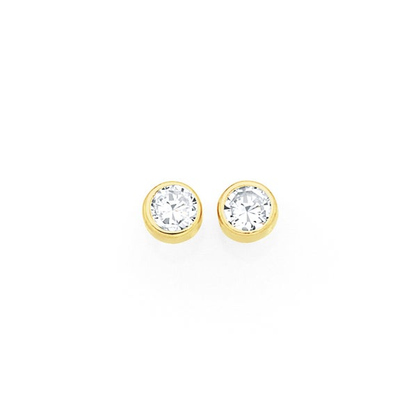 9ct Gold 3mm Round CZ Stud Earrings