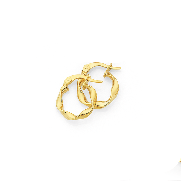 9ct Gold 3x10mm Twist Hoop Earrings
