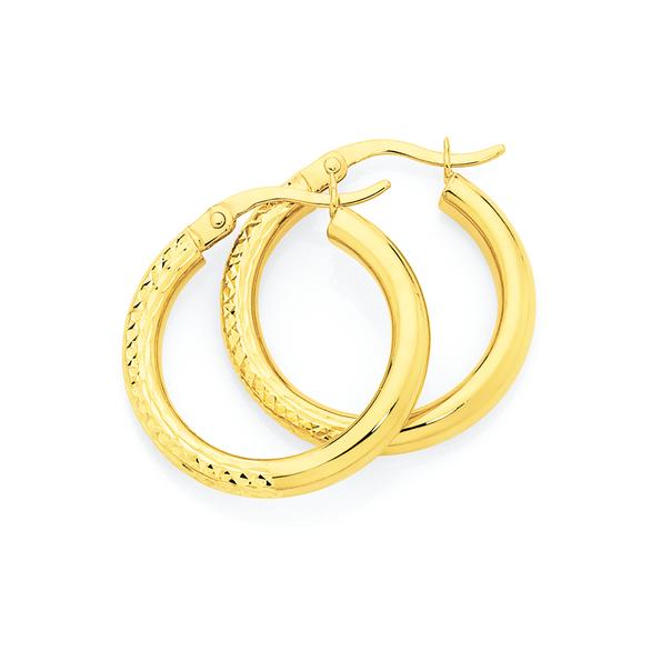 9ct Gold 3x15mm Diamond-cut Hoop Earrings
