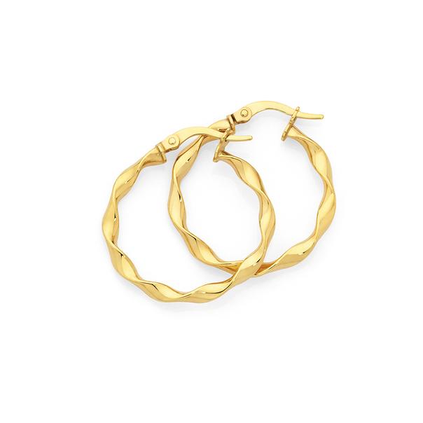 9ct Gold 3x20mm Loose Twist Hoop Earrings