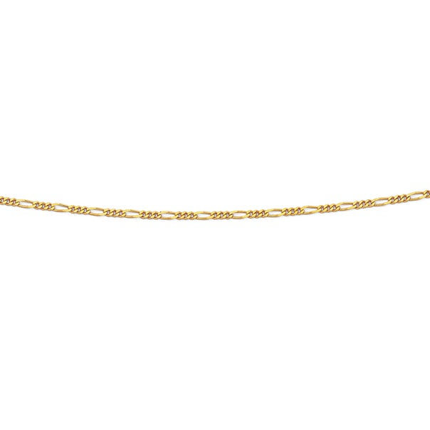 9ct Gold 40cm Solid Figaro 3+1 Chain
