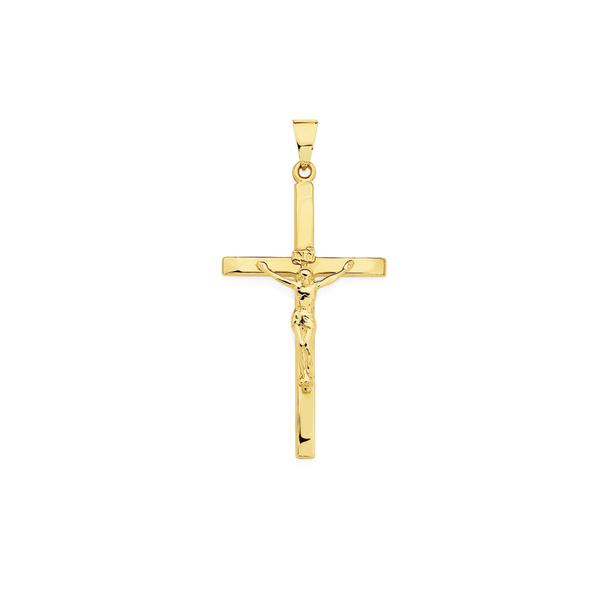 9ct Gold 40mm 'Inri' Crucifix Pendant