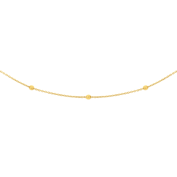 9ct Gold 45cm Beaded Solid Cable Chain