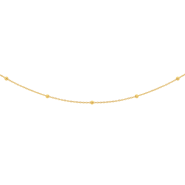 9ct Gold 45cm Beaded Solid Trace Chain