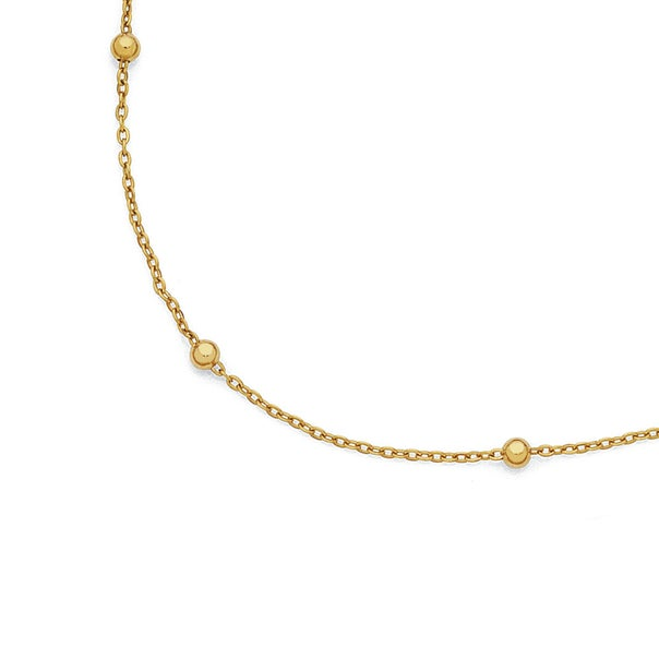 9ct Gold 45cm Beaded Trace Chain