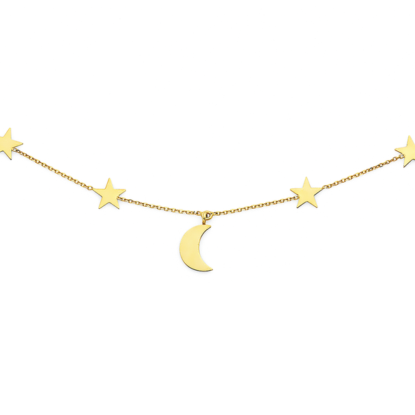 9ct Gold 45cm Moon & Stars Trace Necklet