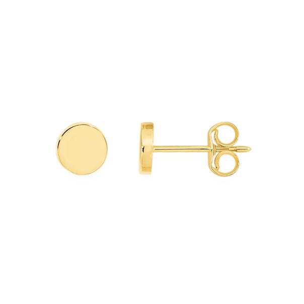9ct Gold 4.5mm Mini Disc Stud Earrings